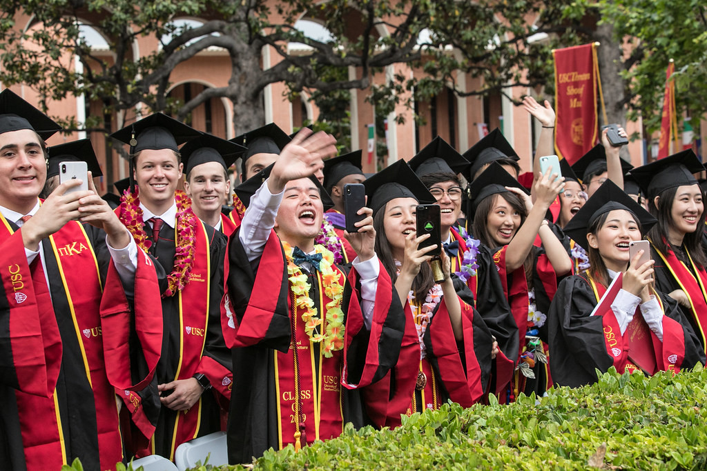 School of Architecture grads at the 136th commencement at the University of Southern California in Los Angeles, CA. May 10th, 2019. Photo by David Sprague